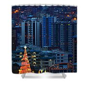 Urban Christmas Tree Shower Curtain