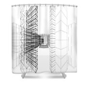 Urban Skyscrapers Shower Curtain by Nenad Cerovic