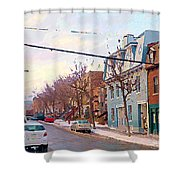 Urban Winter Landscape Colors Of Quebec Cold Day Pointe St Charles Street Scene Montreal  Shower Curtain