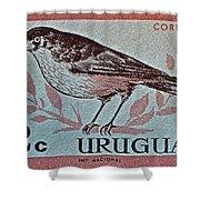 Uruguay Bird Stamp - Circa 1962 Shower Curtain