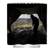 U.s. Air Force Airman Pushes Shower Curtain by Stocktrek Images