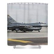 U.s. Air Force F-16c Planes Undergo Shower Curtain