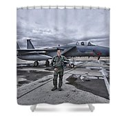 U.s. Air Force Pilot Standing In Front Shower Curtain