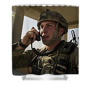U.s. Air Force Soldier Communicates Shower Curtain