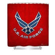 U. S. Air Force  -  U S A F Logo On Red Leather Shower Curtain