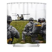 U.s. Army Paratroopers Prepare To Board Shower Curtain