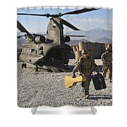 U.s. Army Sergeant Helps Unload Band Shower Curtain