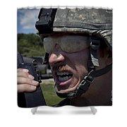 U.s. Army Sergeant Testing Shower Curtain