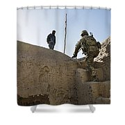 U.s. Army Soldier Climbs Stairs Shower Curtain