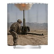 U.s. Army Soldier Fires A 122mm Shower Curtain