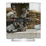 U.s. Army Soldier Looks Down The Scope Shower Curtain