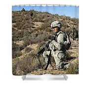 U.s. Army Soldier Scans For Simulated Shower Curtain