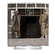 U.s. Army Soldier Stands Guard In Farah Shower Curtain