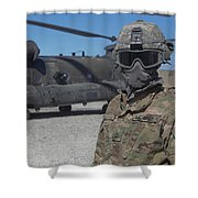 U.s. Army Soldier Stands Ready To Load Shower Curtain