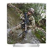 U.s. Army Soldier Walks Through A Creek Shower Curtain
