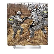 U.s. Army Soldiers Helps A Fellow Shower Curtain