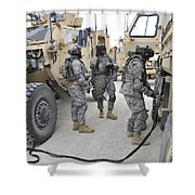 U.s. Army Soldiers Jump Start A Light Shower Curtain
