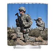 U.s. Army Soldiers Scan The Terrain Shower Curtain