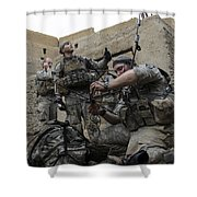 U.s. Army Soldiers Set Up A Tactical Shower Curtain