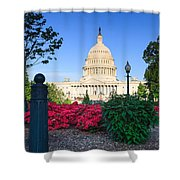 Us Capitol And Red Azaleas Shower Curtain