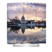 Washington Dc Us Capitol Building At Sunrise Shower Curtain