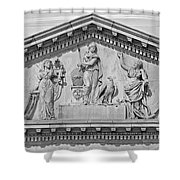 Us Capitol Building Facade- Black And White Shower Curtain