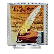 Us Constitution Stamp Shower Curtain