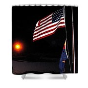 Us Flag Arizona Flag Twilight Casa Grande Arizona 2005 Shower Curtain