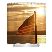 Us Flag At Sunset Shower Curtain