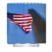 Us Flag At Washington Monument At Dusk Shower Curtain
