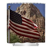 U.s. Flag In Zion National Park Shower Curtain