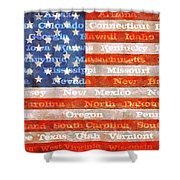 Us Flag With States Shower Curtain
