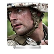 U.s. Marine Calls For Helicopter Shower Curtain