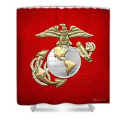 U. S. Marine Corps Eagle Globe And Anchor - E G A On Red Leather Shower Curtain