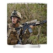 U.s. Marine Corps Machine Gunner Shower Curtain
