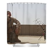 U.s. Marine Looks Up To The Sky While Shower Curtain