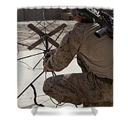 U.s. Marine Repositions A Satellite Shower Curtain by Stocktrek Images