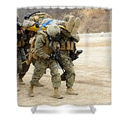 U.s. Marines Carry A Fellow Marine Shower Curtain