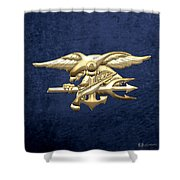 U. S. Navy S E A Ls Emblem On Blue Velvet Shower Curtain
