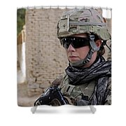 U.s. Navy Soldier At Farah City Shower Curtain