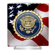 Presidential Service Badge - P S B Over American Flag Shower Curtain
