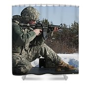 U.s. Soldier Fires His M4a3 Carbine Shower Curtain