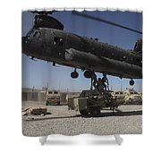 U.s. Soldiers Attach Sling Load Ropes Shower Curtain