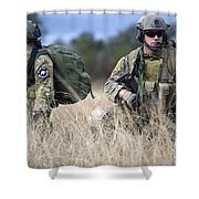 U.s. Soldiers Await The Arrival Shower Curtain