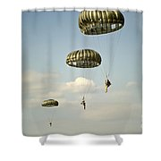 U.s. Soldiers Descend Through The Sky Shower Curtain