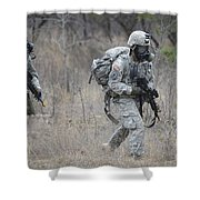 U.s. Soldiers Don Chemical Warfare Gear Shower Curtain