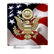 U. S. A. Great Seal In Gold Over American Flag  Shower Curtain