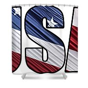 Usa In Red White And Blue American Patriotic Flag Shower Curtain