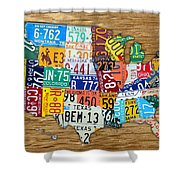 Usa License Plate Map Car Number Tag Art On Light Brown Stained Board Shower Curtain by Design Turnpike