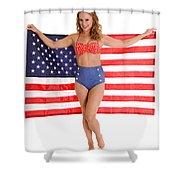 Usa Pinup Girl Shower Curtain